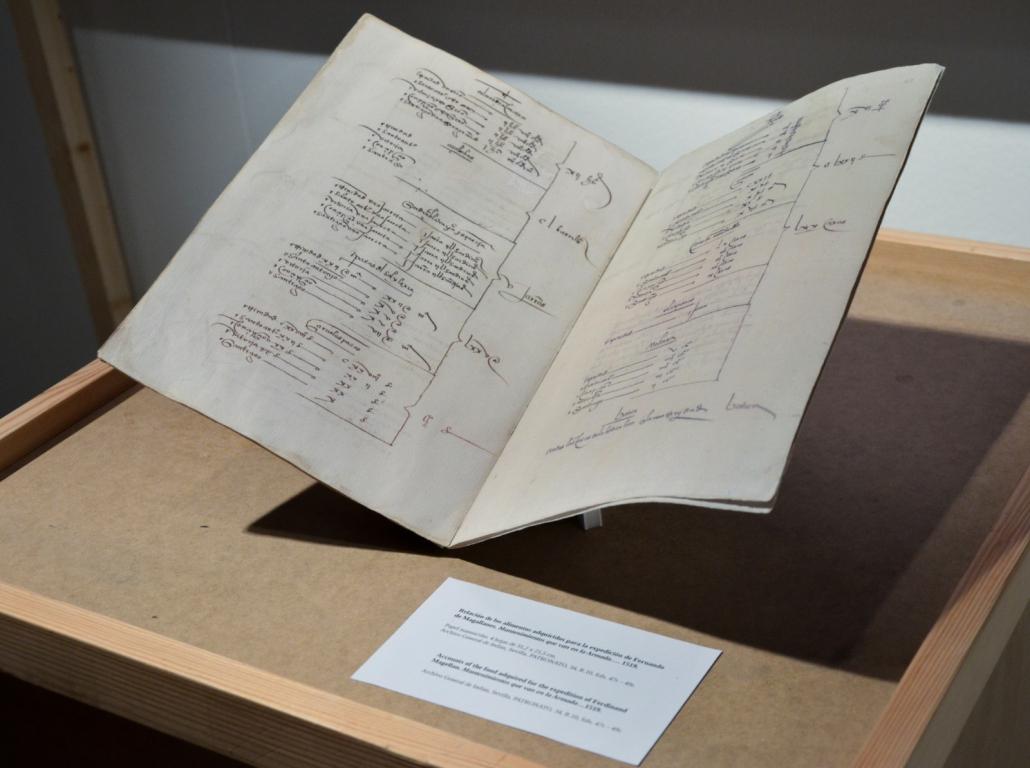 Detalle del manuscrito con la relación de alimentos de la expedición de Magallanes.